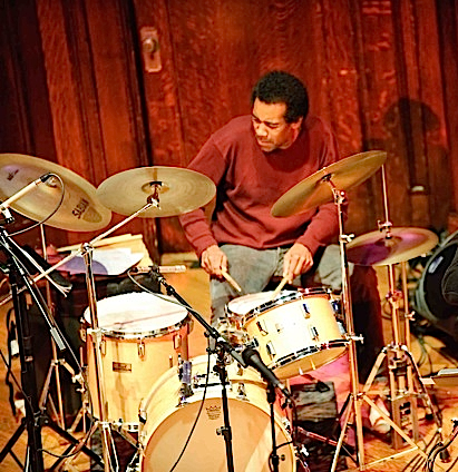 Donald Robinson, percussion dervish, performs w Larry Ochs' Sax & Drumming Core
