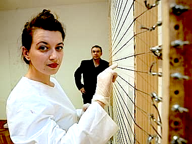 Lucie Vítková and Pavel Korbička performing one of the Akustický obraz (Acoustic Paintings) series
