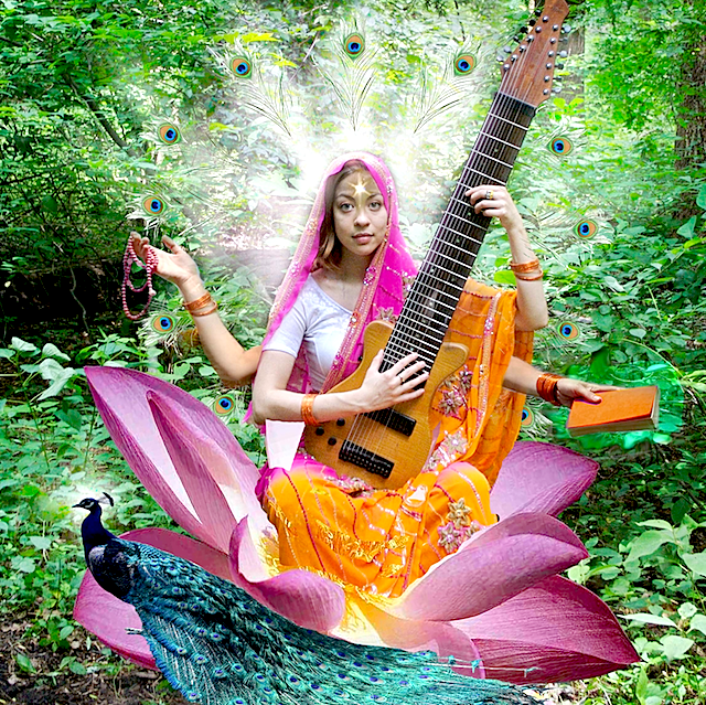 Sarasvatī (सरस्वती), goddess of music, at the touch-style veena
