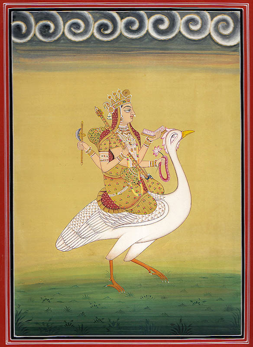 Sarasvatī (सरस्वती) on her animal mount, the swan; painting by Navneet Parikh (नवनीत पारिख)