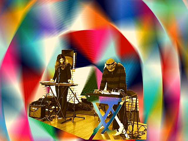 Alien Planet, the duo of Sheila Bosco (L) and Collette McCaslin (R), perform at Berkeley Arts Festival, 17 Apr 2014