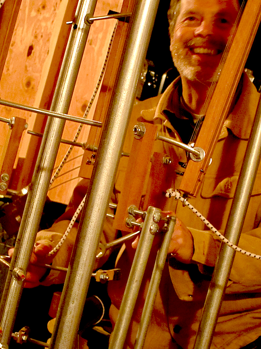 Bart Hopkin at the wheel with one of his invented instruments