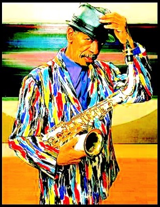 Ornette Coleman, sporting new psychotropic LED threads (photo - Jimmy Katz, modified)