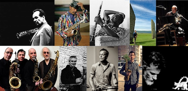 Composers (top, L → R): Steve Lacy, Ornette Coleman, John Carter, John Butcher, Jon Raskin • Bands (bottom, L → R): ROVA Saxophone Quartet, John Ingle/Kjell Nordeson, Aram Shelton's Marches, Joe Lasqo's Tomorrow Is The Meta-Body