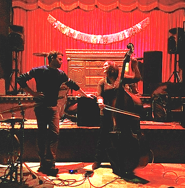 duo b. (Jason Levis and Lisa Mezzacappa) perform at the Makeout Room, San Francisco