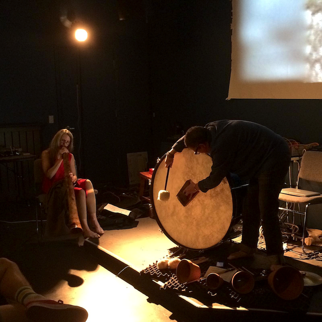 (L→R) Nan Busse (didgeridoo) and Suki O'Kane (percussion) perform w Mukaiji-kai (霧海箎会) at Fog CIty Music Festival, 31 Jan 2015