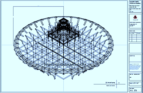2D-wireframe for Tibetan Buddhist temple modeled on the Zhi Tro Mandala (ཞི་ཁྲོ་དཀྱིལ་འཁོར།) of 100 peaceful and wrathful deities. Architect, Pema Namdol Thaye (པད་མ་རྣམ་གྲོལ་མཐའ་ཡས)