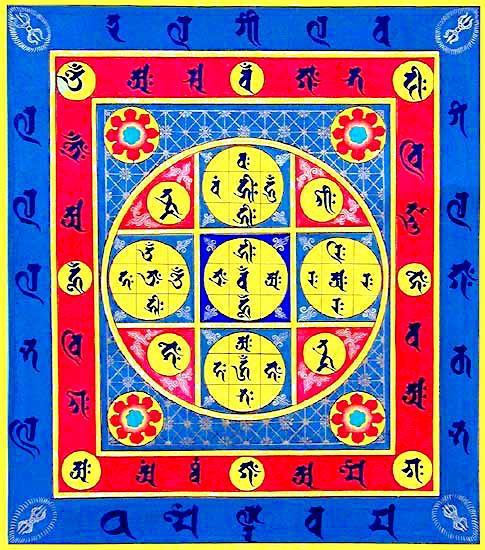 9-square Vajradhātu (Diamond Realm) Mandala (Tib. རྡོ་རྗེ་དབྱིངས་ཀྱི་དཀྱིལ་འཁོར།, Skt. वज्धातु मण्डल) of esoteric Buddhism, similar to the 9-square Pitha-mandala (पिठ मण्डल) we're using