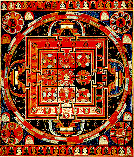 9-square Vajradhātu (Diamond World) Mandala (Tib. རྡོ་རྗེ་དབྱིངས་ཀྱི་དཀྱིལ་འཁོར།, Skt. वज्धातु मण्डल) showing architectural elements at East, West, North, & South, Central Tibet, ca. 14th century
