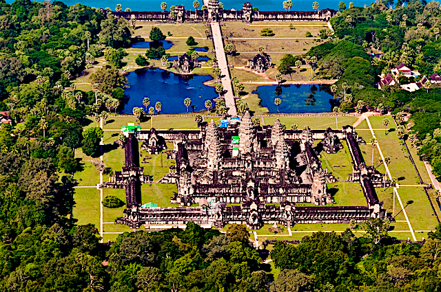 Angkor Wat (អង្គរវត្ត) in Kampuchea (Cambodia), is also designed according to principles of Vāstu (वास्तु)