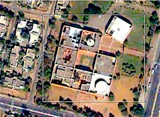 Correa's Jawahar Jawahar Kala Kendra Center Of The Arts (जवाहर कला केन्द्र) aerial view, showing the 9 squares of its mandala, with empty central courtyard, and opening on the Northeast
