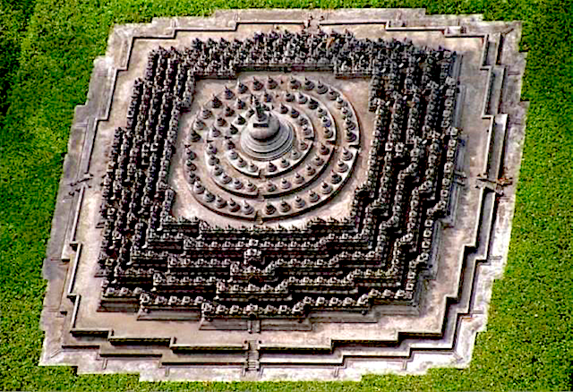 The Borobudur complex in Java is a 3D mandala laid out according to Vāstu principles